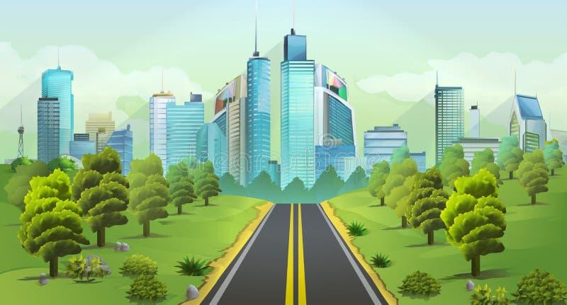Stad en aardlandschap vector illustratie