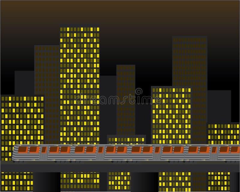 Stad en de Opgeheven Vector van de Trein royalty-vrije illustratie