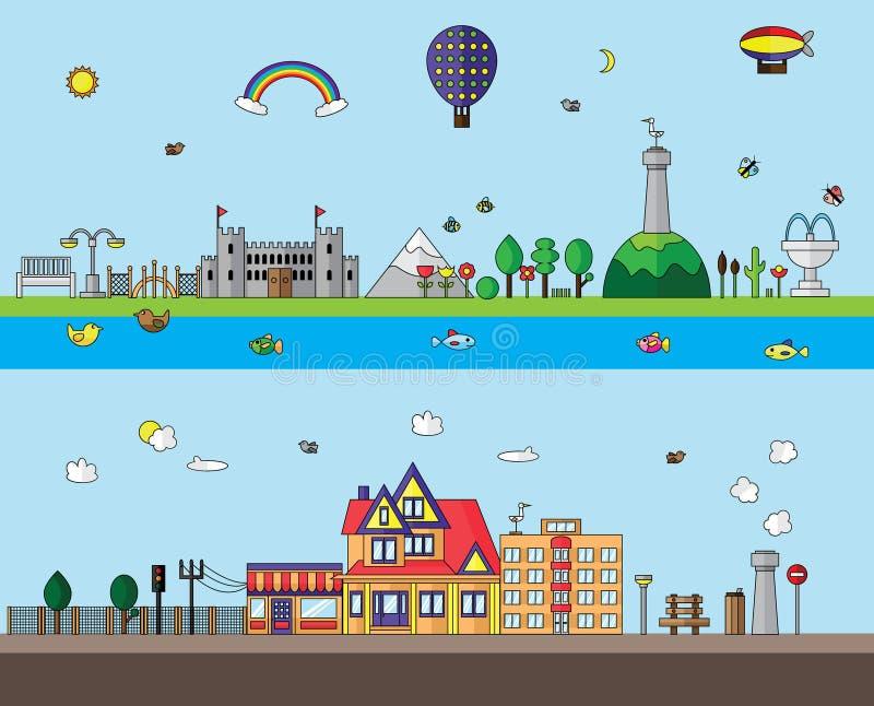 Stad en Dorps vlak ontwerp stock illustratie
