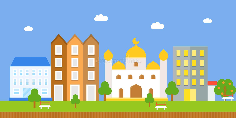 Stad en masjid vector illustratie