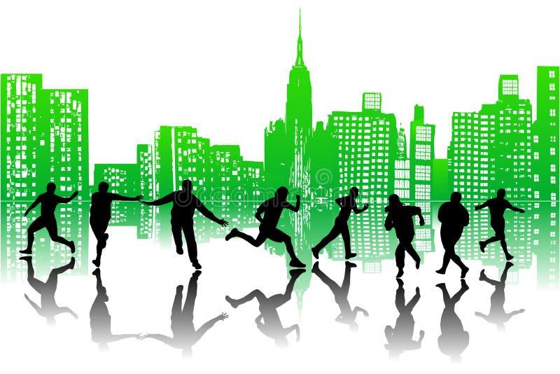 Stad en mensen vector illustratie