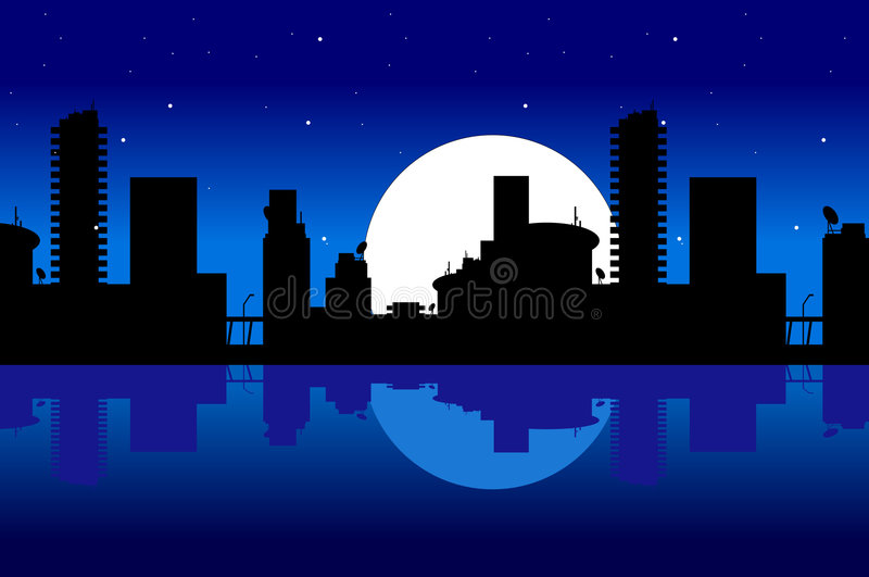 Stad en nacht vector illustratie