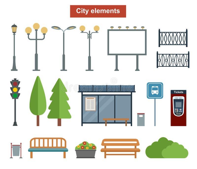 Stad en openluchtelementen voor bouw van landschappen, vector illustratie