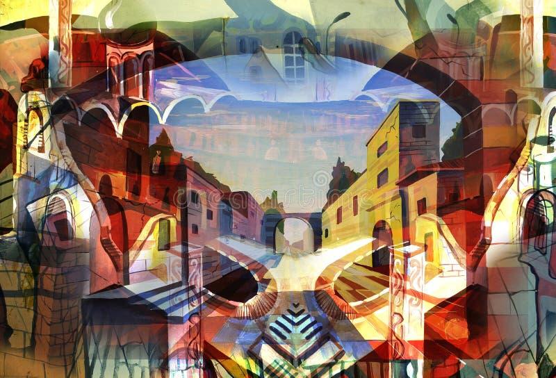 Stad en samenvatting en tekening en architectuur vector illustratie