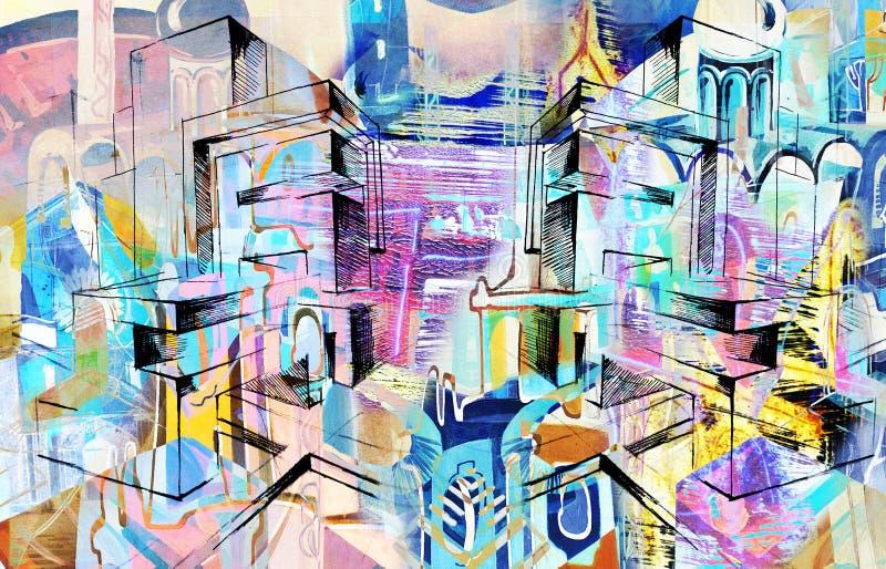 Stad en samenvatting en tekening en architectuur stock illustratie