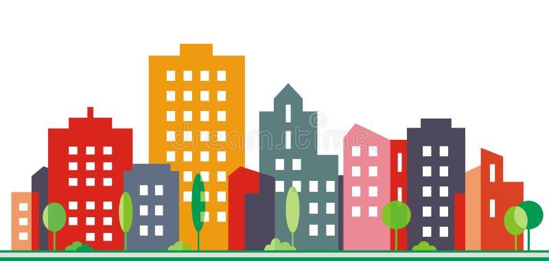 Stad en stedelijk groen, vectorillustratie royalty-vrije illustratie