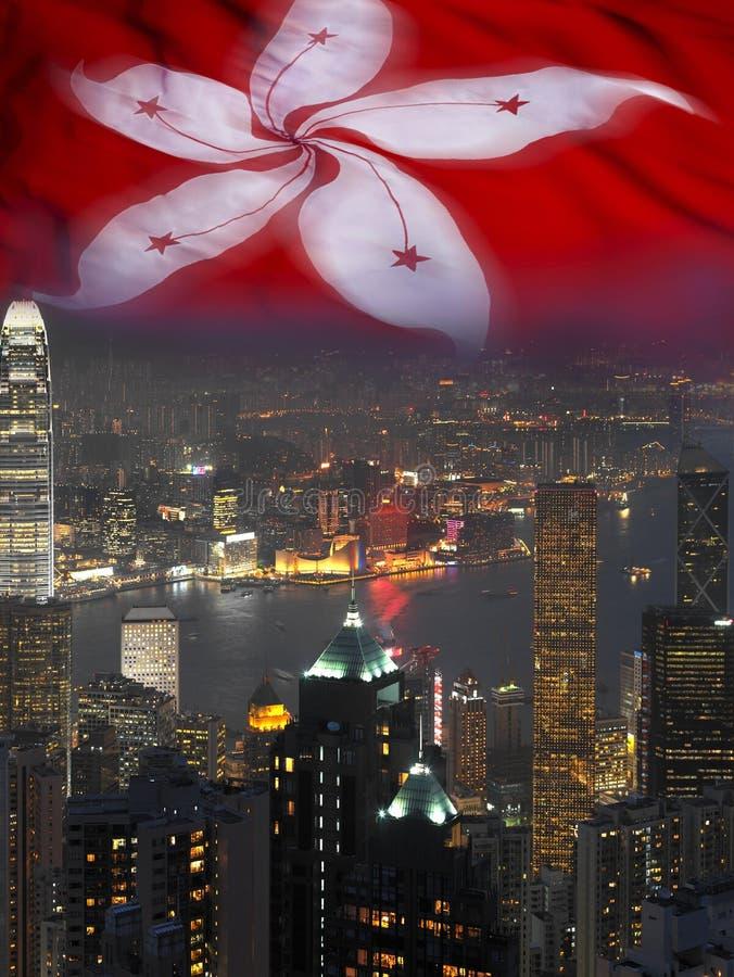 Stad en Vlag van Hongkong stock foto's