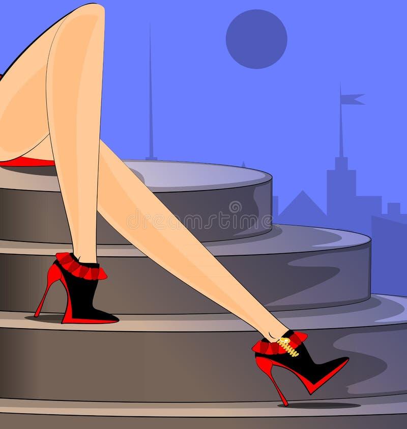 Stad en voeten royalty-vrije illustratie