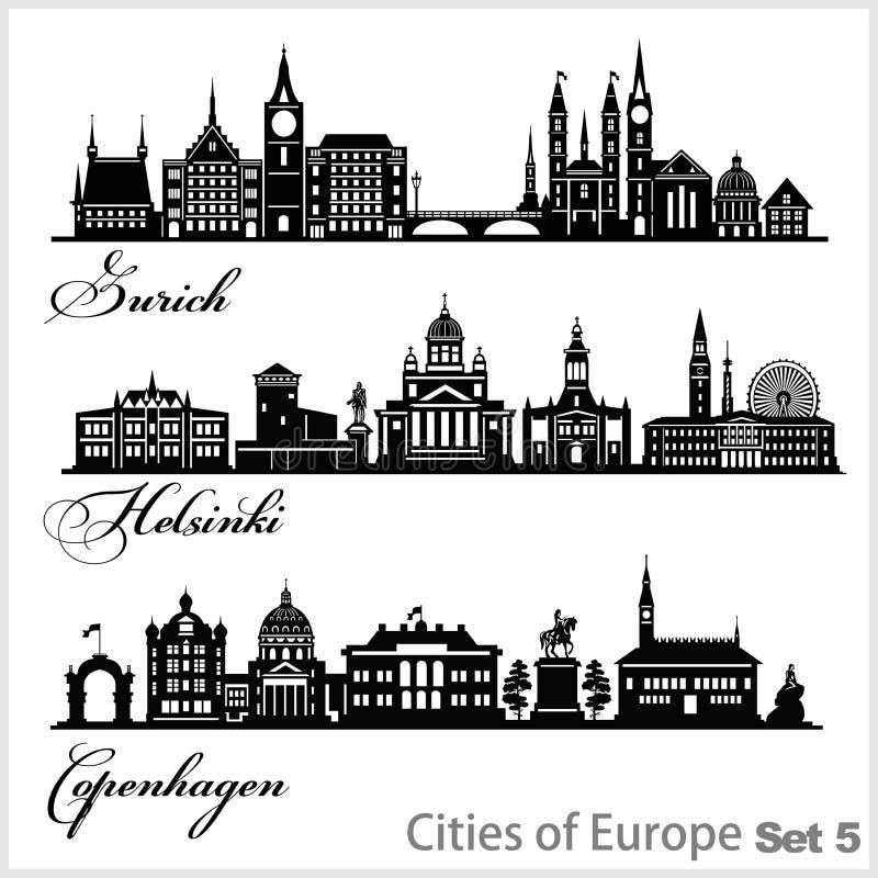 Stad Europa - Zürich, Helsinki, Kopenhagen Gedetailleerde architectuur Trendy vectorillustratie stock illustratie
