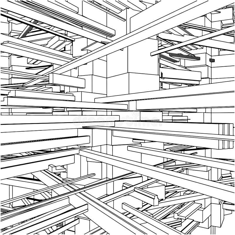 stad för 146 stads- vektor för abstrakt byggnadskaosar royaltyfri illustrationer