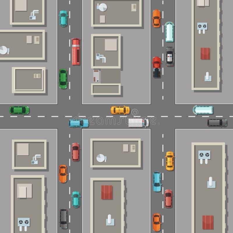 Stad för bästa sikt för vektor med kontorsbyggnadtak, bilar på vägillustrationen vektor illustrationer
