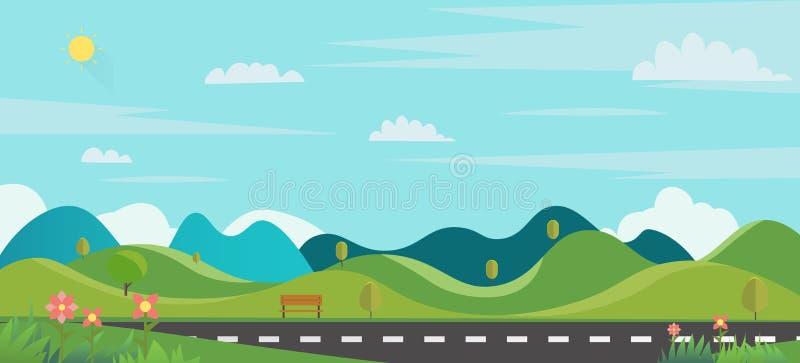Stad för huvudsaklig gata för naturplats med gräsförgrund Allmänhet parkerar med bänken och liten kullar och himmelbakgrund royaltyfri illustrationer