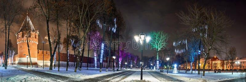 Stad för julnatt Gammal fort Snö parkerar med dekorerade träd och ljus Ryssland Tula, Kremlträdgård, sikt av royaltyfri foto