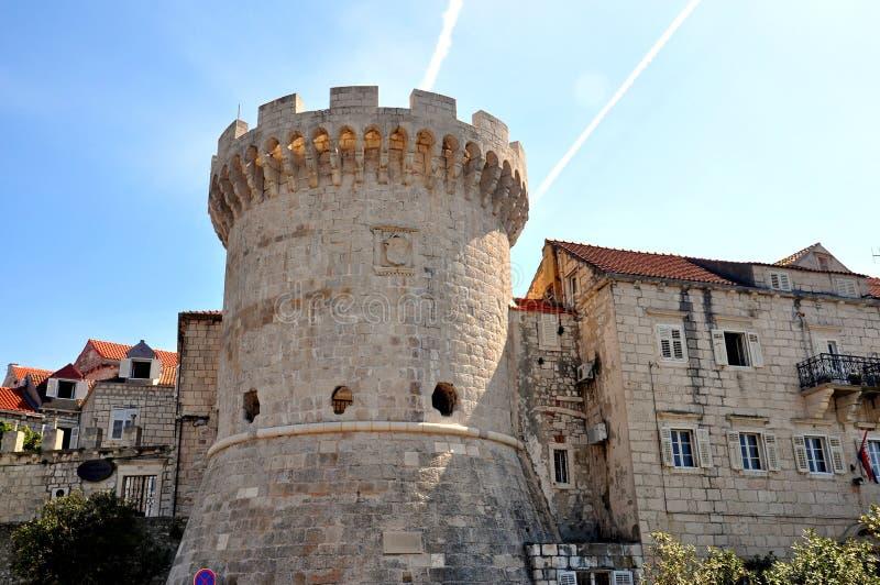 Stad för KorÄ ula i Kroatien royaltyfria foton