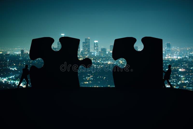Stad för partnerskapbegreppsnigth royaltyfri foto
