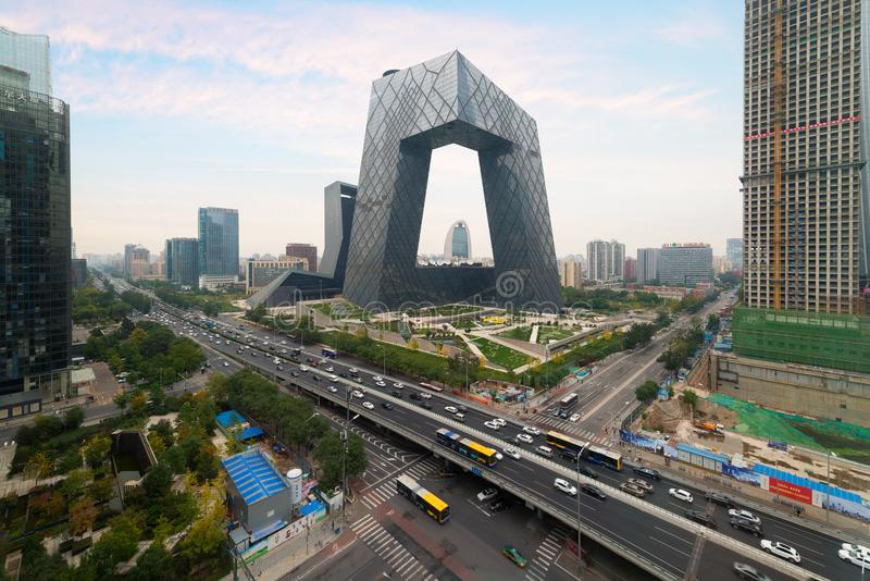 Stad för Peking för Kina ` s, en berömd gränsmärkebyggnad, Kina CCTV CC arkivbild