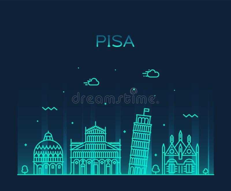 Stad för stil för Pisa horisontItalien vektor linjär royaltyfri illustrationer