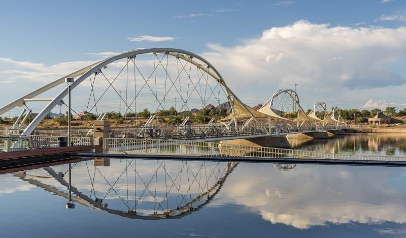 Stad fot- bro för sjö royaltyfri foto