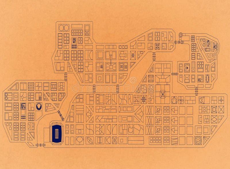 Stad från ovannämnt - Retro arkitekt Blueprint fotografering för bildbyråer