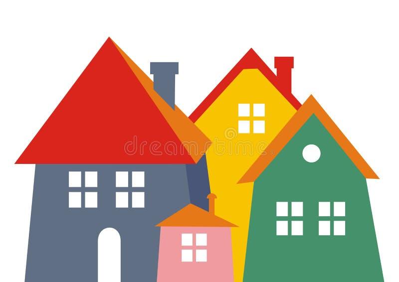 Stad, gekleurd silhouet Het pictogram van toestellen Groep huizen met schoorsteen stock illustratie