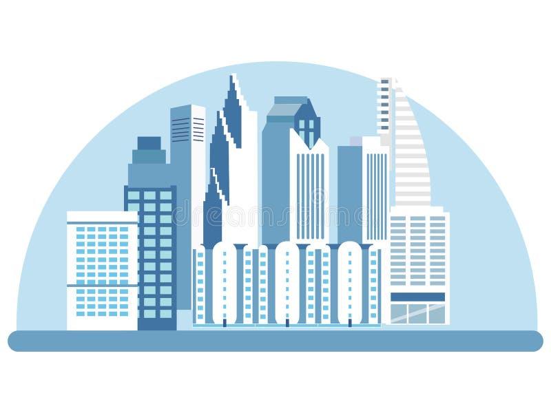 Stad höga löneförhöjningbyggnader, gator Sikt av dragningen, logo I minimalist stil Plan vektor f?r tecknad film stock illustrationer
