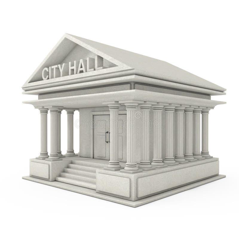 Stad Hall Architecture Public Government Building framförande 3d royaltyfri illustrationer