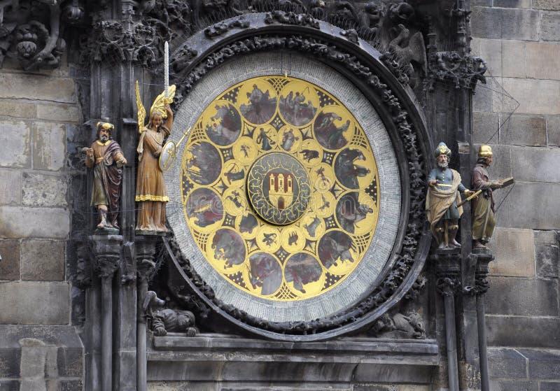 Stad Hall Astronomy Clock från Prague i Tjeckien royaltyfria bilder