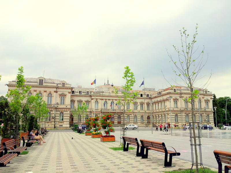 Stad Hall Bacau royaltyfri bild