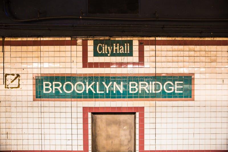 Stad Hall Brooklyn Bridge för New York City gångtunnelstation arkivfoton