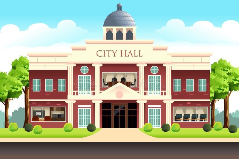 Stad Hall Building Illustration royaltyfri illustrationer