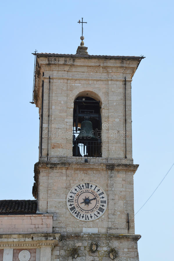 Stad Hall Clock Tower, Norcia royalty-vrije stock foto