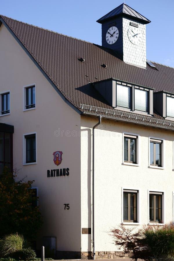 Stad Hall Griesheim för klockatorn royaltyfri fotografi