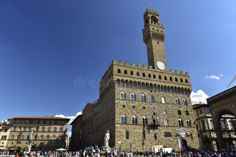 Stad Hall Palazzo Vecchio (=Oldslotten), Florence, Italien fotografering för bildbyråer