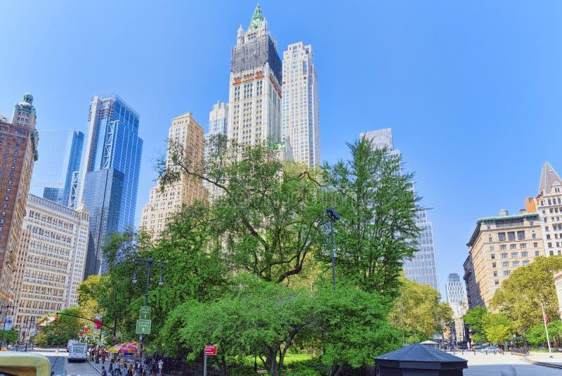 Stad Hall Park De financiële hoofdstad van Amerika is New York CIT royalty-vrije stock afbeelding