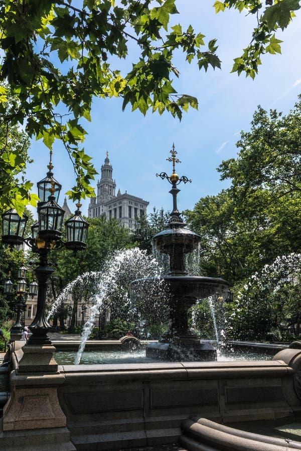 Stad Hall Park Fountain, Lower Manhattan, de Stad van New York stock foto