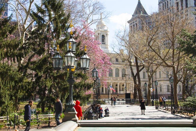 Stad Hall Park in New York, de V.S. royalty-vrije stock foto's