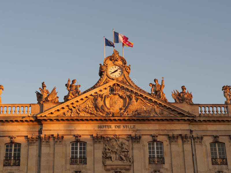 Stad Hall At Place Stansilas in Nancy At Sunset royalty-vrije stock fotografie