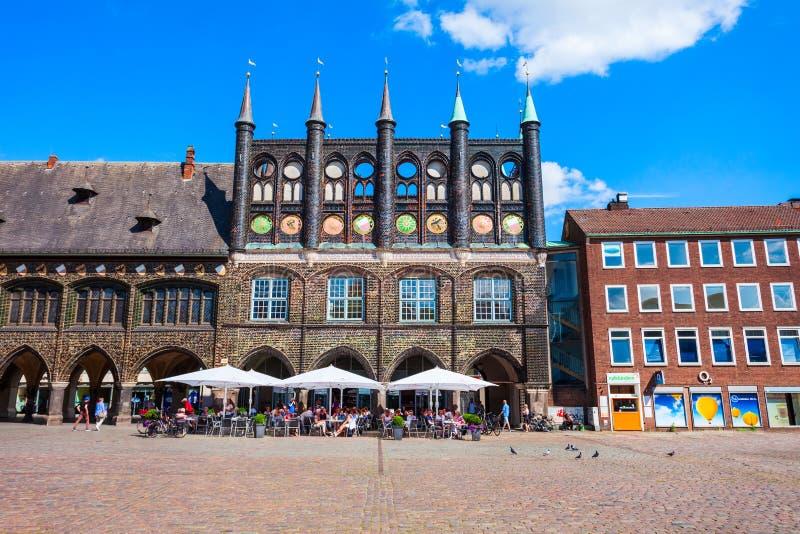 Stad Hall Rathaus in Lübeck royalty-vrije stock foto