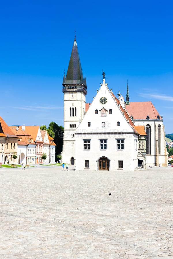 Stad Hall Square, Bardejov, Slowakije royalty-vrije stock foto