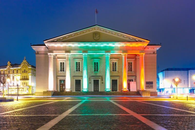 Stad Hall Square bij nacht, Vilnius, Litouwen royalty-vrije stock afbeeldingen