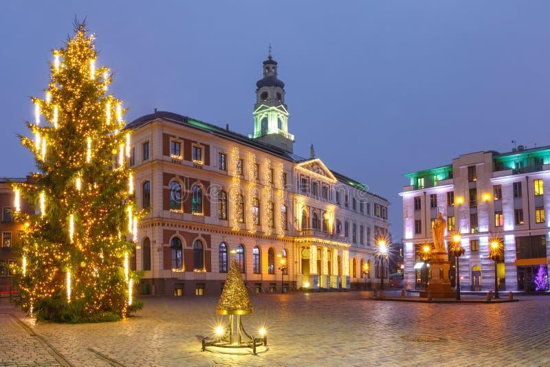 Stad Hall Square in de Oude Stad van Riga, Letland stock afbeeldingen