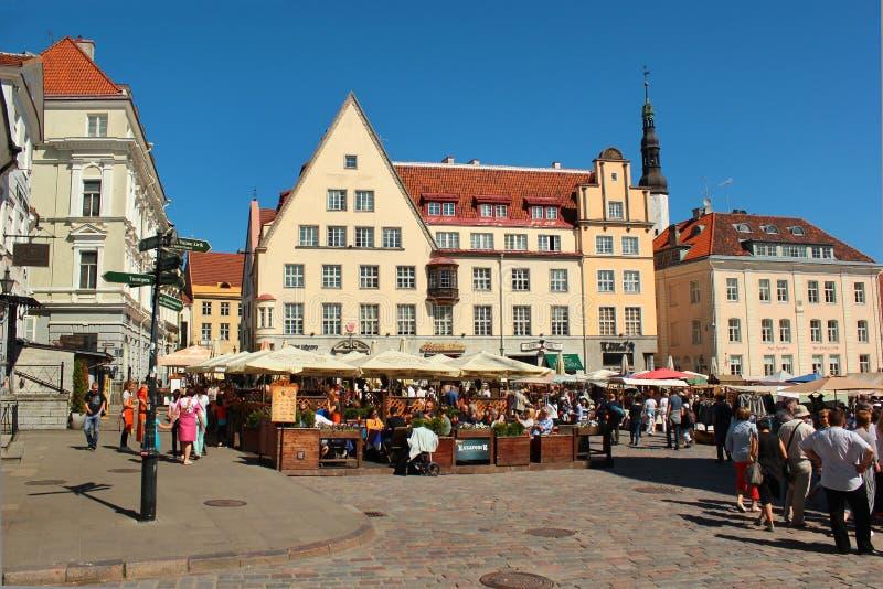 Stad Hall Square i gammal stad av Tallinn, Estland royaltyfri foto
