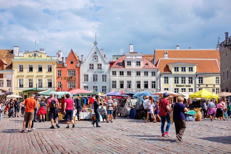 Stad Hall Square i Tallinn Estland EU royaltyfria bilder