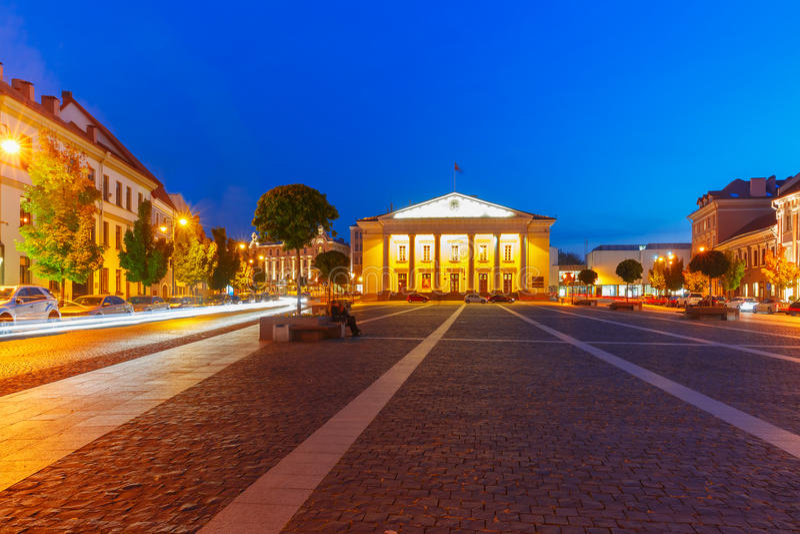 Stad Hall Square på natten, Vilnius, Litauen royaltyfri foto