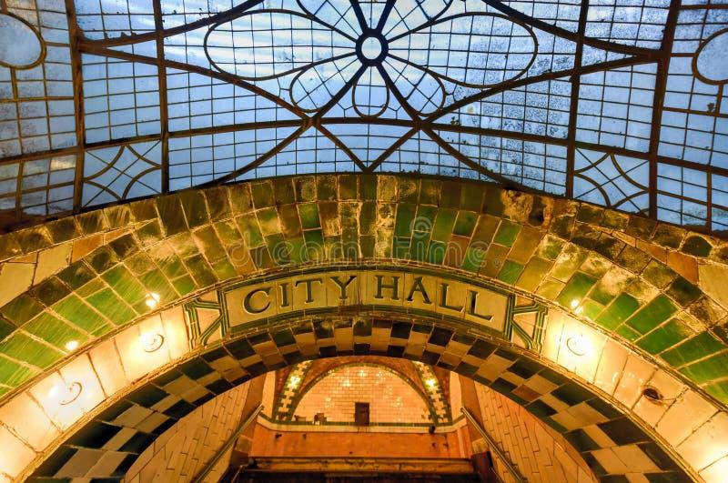 Stad Hall Station - New York City arkivfoto