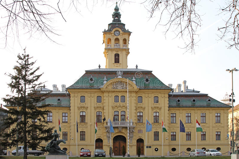 Stad Hall Szeged arkivfoton