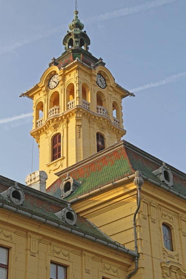 Stad Hall Tower Szeged arkivfoto