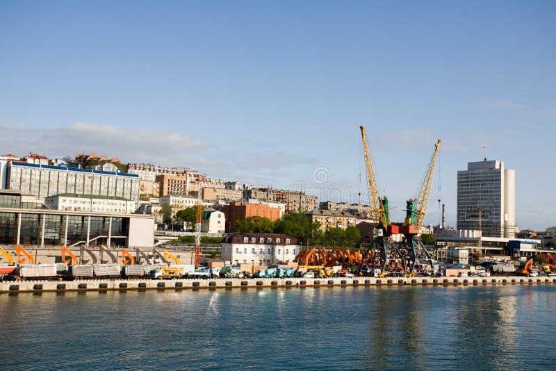 Stad-haven Vladivostok.Russia royalty-vrije stock foto's