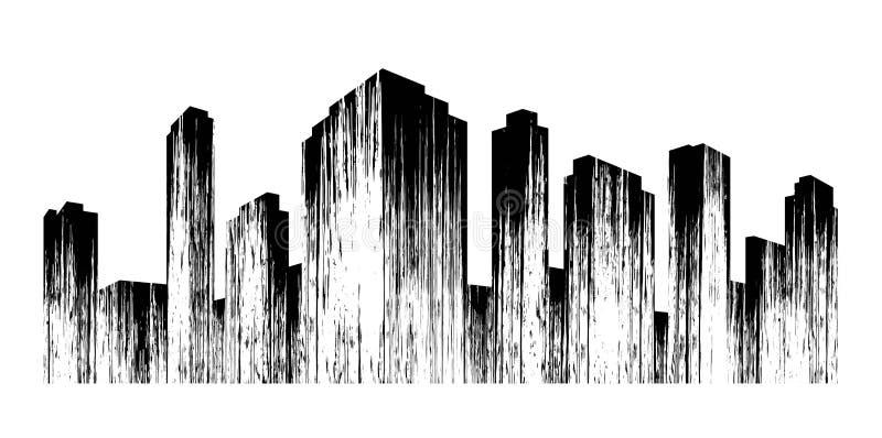 Stad Het abstracte zwarte silhouet van de metropool met textuur stock illustratie