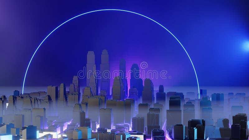 Stad i dimma Luftf?rorening eller milit?ra insatser stock illustrationer